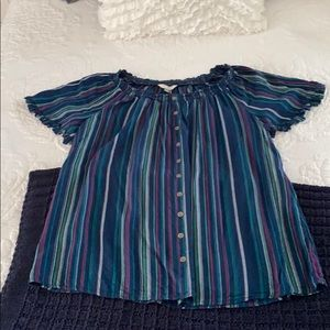 Terra and sky striped button down blouse